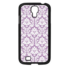 White On Lilac Damask Samsung Galaxy S4 I9500/ I9505 Case (Black)