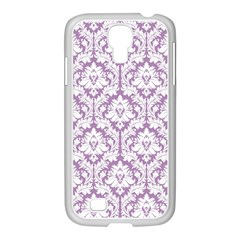White On Lilac Damask Samsung GALAXY S4 I9500/ I9505 Case (White)