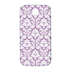 White On Lilac Damask Samsung Galaxy S4 I9500/I9505  Hardshell Back Case