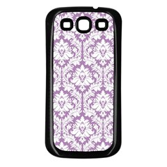 White On Lilac Damask Samsung Galaxy S3 Back Case (black)