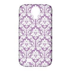 White On Lilac Damask Samsung Galaxy S4 Classic Hardshell Case (PC+Silicone)