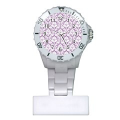 White On Lilac Damask Nurses Watch