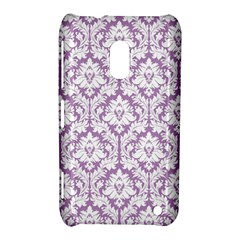 White On Lilac Damask Nokia Lumia 620 Hardshell Case