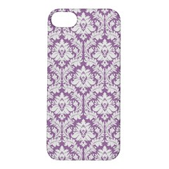 White On Lilac Damask Apple Iphone 5s Hardshell Case