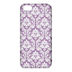 White On Lilac Damask Apple Iphone 5c Hardshell Case