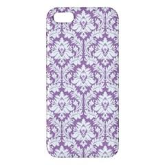 White On Lilac Damask Iphone 5s Premium Hardshell Case