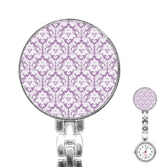 White On Lilac Damask Stainless Steel Nurses Watch