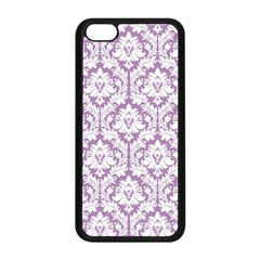 White On Lilac Damask Apple iPhone 5C Seamless Case (Black)