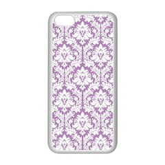 White On Lilac Damask Apple iPhone 5C Seamless Case (White)