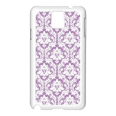 White On Lilac Damask Samsung Galaxy Note 3 N9005 Case (White)