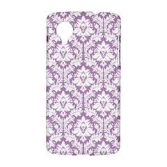 White On Lilac Damask Google Nexus 5 Hardshell Case