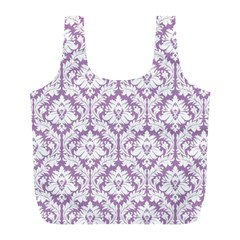 Lilac Damask Pattern Full Print Recycle Bag (L)