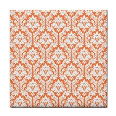 White On Orange Damask Ceramic Tile