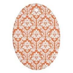 White On Orange Damask Oval Ornament