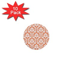 White On Orange Damask 1  Mini Button (10 pack)