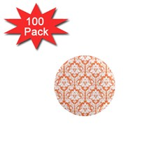 White On Orange Damask 1  Mini Button Magnet (100 Pack)