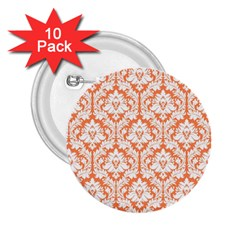 White On Orange Damask 2.25  Button (10 pack)