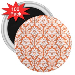 White On Orange Damask 3  Button Magnet (100 pack)