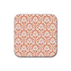 White On Orange Damask Drink Coaster (Square)
