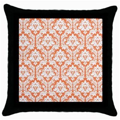 White On Orange Damask Black Throw Pillow Case