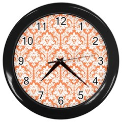 White On Orange Damask Wall Clock (Black)