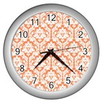 White On Orange Damask Wall Clock (Silver) Front