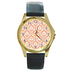 White On Orange Damask Round Leather Watch (gold Rim)