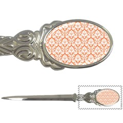 White On Orange Damask Letter Opener