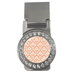 White On Orange Damask Money Clip (CZ)