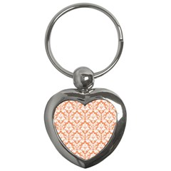 White On Orange Damask Key Chain (Heart)