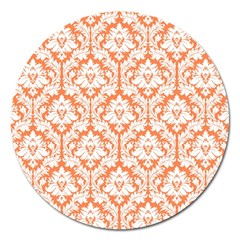 White On Orange Damask Magnet 5  (Round)