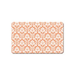 White On Orange Damask Magnet (name Card)