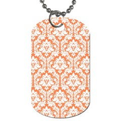White On Orange Damask Dog Tag (One Sided)