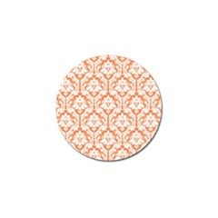 White On Orange Damask Golf Ball Marker 4 Pack