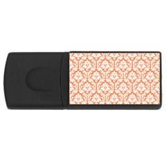 White On Orange Damask 2GB USB Flash Drive (Rectangle)