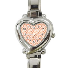 White On Orange Damask Heart Italian Charm Watch