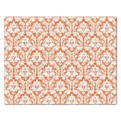 White On Orange Damask Jigsaw Puzzle (Rectangle)