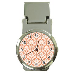 White On Orange Damask Money Clip with Watch