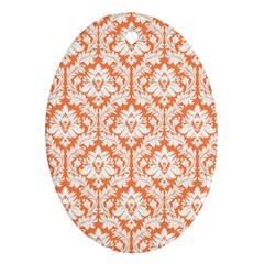 White On Orange Damask Oval Ornament (Two Sides)