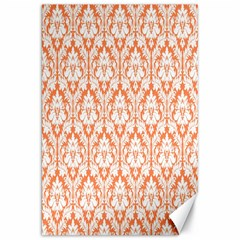 White On Orange Damask Canvas 20  X 30  (unframed)