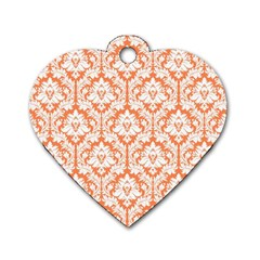 White On Orange Damask Dog Tag Heart (Two Sided)