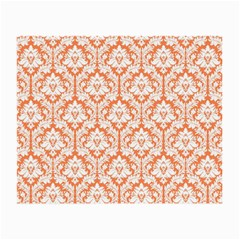 White On Orange Damask Glasses Cloth (Small, Two Sided)