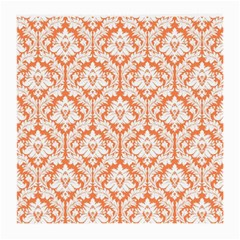 White On Orange Damask Glasses Cloth (Medium, Two Sided)