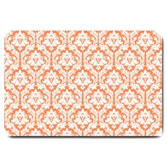 White On Orange Damask Large Door Mat