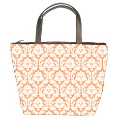 Nectarine Orange Damask Pattern Bucket Bag