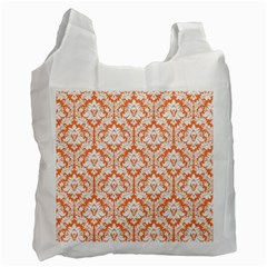 White On Orange Damask White Reusable Bag (One Side)
