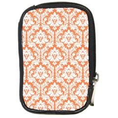 White On Orange Damask Compact Camera Leather Case