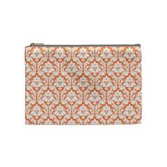 Nectarine Orange Damask Pattern Cosmetic Bag (Medium)
