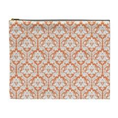 Nectarine Orange Damask Pattern Cosmetic Bag (XL)