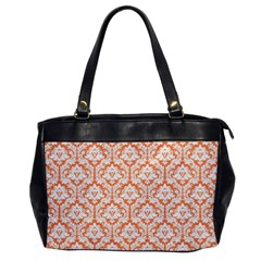 White On Orange Damask Oversize Office Handbag (One Side)